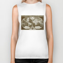 World Map (1691) Dark Brown & White Biker Tank