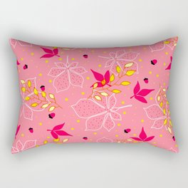 Chestnut Acorns Gold and Pink Leaves Rectangular Pillow