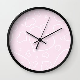 Palest Pink and White Hand Drawn Hearts Pattern Wall Clock