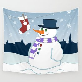 Snowman & Stocking Christmas Scene Wall Tapestry