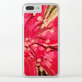 Red Hibiscus Detail Clear iPhone Case