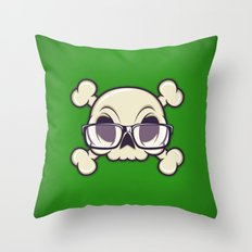 Nerd Skull Throw Pillow