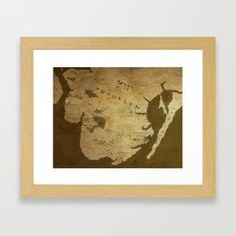 Fantasy Map of Brooklyn: Brown Parchment Framed Art Print