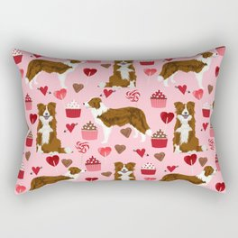 Border Collie red coat cupcakes valentines hearts dog breed pet friendly gifts for collie lovers Rectangular Pillow