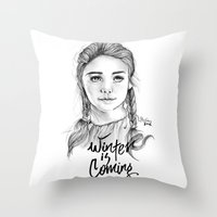 arya Throw Pillows featuring Arya stark by Nicolaine