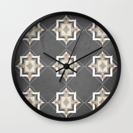 Charcoal Gray and Taupe Mosaic Pattern Wall Clock