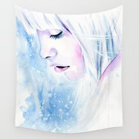 fairytale Wall Tapestries featuring Winter fairytale by Cora-Tiana