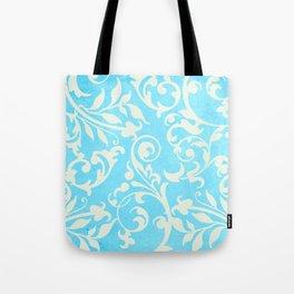 Shabby Chic Aqua Damask Tote Bag
