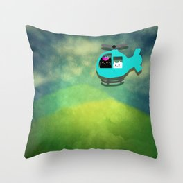 cats and  owl Journey 599 Throw Pillow