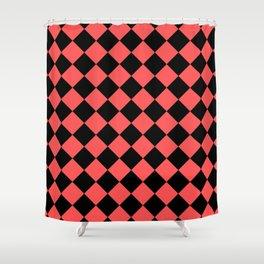 Rhombus (Black & Red Pattern) Shower Curtain