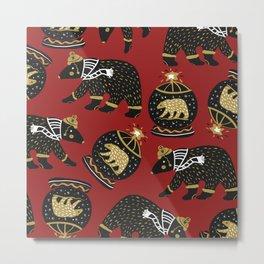 Funky Black Bear Gold White Winter Pattern Metal Print
