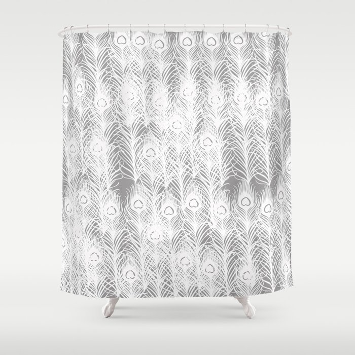 White Peacock Feathers Shower Curtain by joacreations