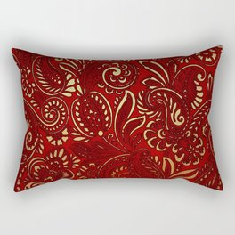 Red Burgundy Deep Gold Paisley Floral Pattern Print Rectangular Pillow