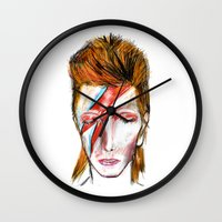bowie Wall Clocks featuring Bowie by James Peart