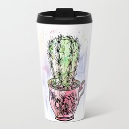 Teacup Cactus - Watercolor & ink Travel Mug