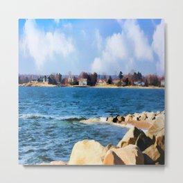 New England Shoreline - Painterly Metal Print