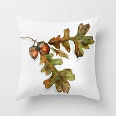 October - oak leaves watercolor  Throw Pillow