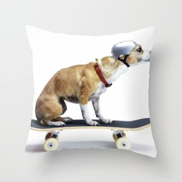 Skate Punk - Skateboarding Chihuahua Dog inTiny Helmet Throw Pillow