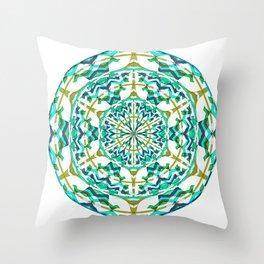 Retro Green Art Nouveau Geometric Mandala Throw Pillow