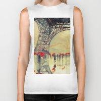 paris Biker Tanks featuring Winter in Paris by takmaj