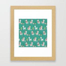 Christmas llamas III Framed Art Print