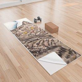 Grey Cat Yoga Towel
