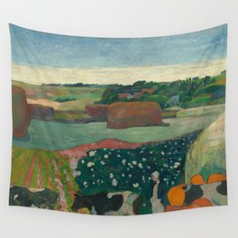 Haystacks in Brittany Oil Painting by Paul Gauguin Wall Tapestry