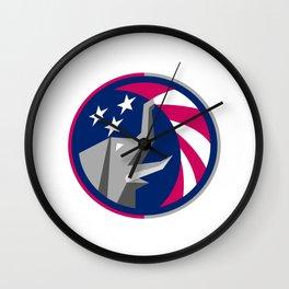 Republican Elephant Mascot USA Flag Circle Retro Wall Clock