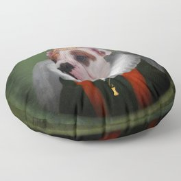 English Bulldog Art - Lucy Floor Pillow