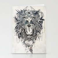stickers Stationery Cards featuring Lion by Feline Zegers