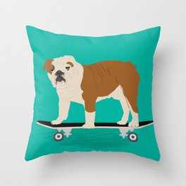 English bulldog skateboard funny pet portrait cute gift for dog person dog lover bulldog owner gifts Throw Pillow