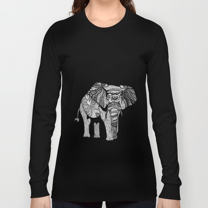 Elephant of Namibia (black & white) Long Sleeve T-shirt