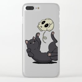 Skull Black Cat Clear iPhone Case