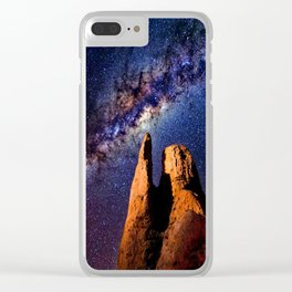 Colorful Milky Way Mountain Clear iPhone Case