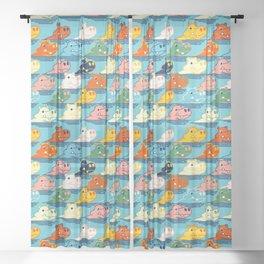 Happy Hippo Family Sheer Curtain
