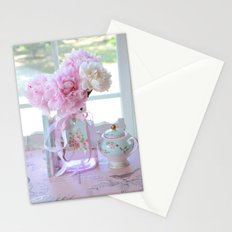 Shabby Chic Romantic Pink Peonies Aqua Pink Floral Decor Stationery Cards