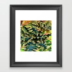 Foliage Abstract In Green, Peach and Phthalo Blue Framed Art Print