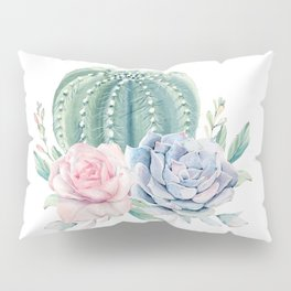 Cactus Rose Succulents Pillow Sham