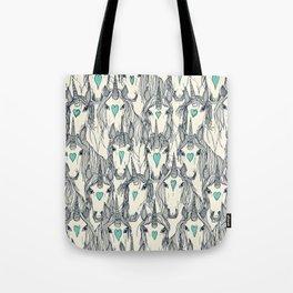 unicorn love indigo mint pearl Tote Bag
