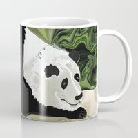lee pace Mugs featuring Driving at Panda Pace by Distortion Art