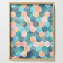 Child's Play 2 - hexagon pattern in soft blue, pink, peach & aqua Serving Tray