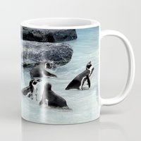 penguins Mugs featuring Penguins. by paulette hurley