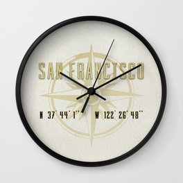 San Francisco - Vintage Map and Location Wall Clock