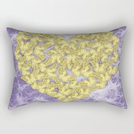 Gold butterflies on ultraviolet fractal texture Rectangular Pillow