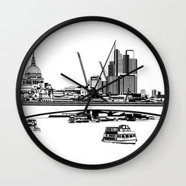 London Black and White Wall Clock