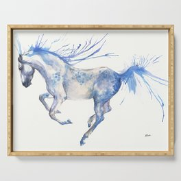 running horse watercolour art Serving Tray