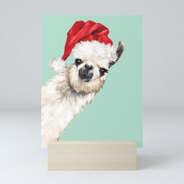 Christmas Sneaky Llama Mini Art Print