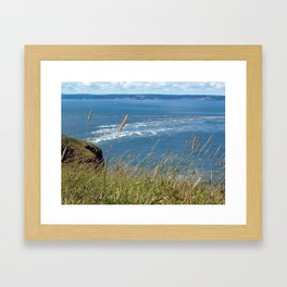Cape Split through grass Framed Art Print