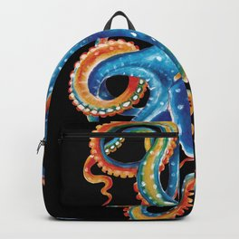 Octopus Colorful Tentacles On Black Backpack