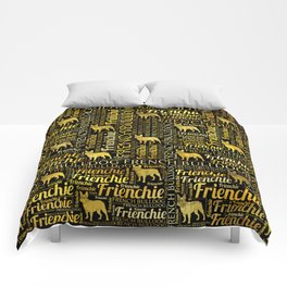 French Bulldog silhouette and word art pattern Comforters
